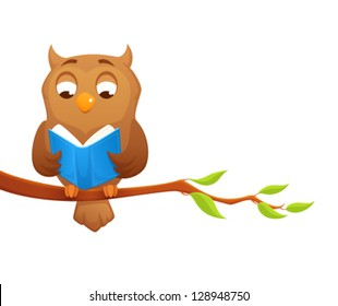 cute cartoon illustration of a wise owl reading book