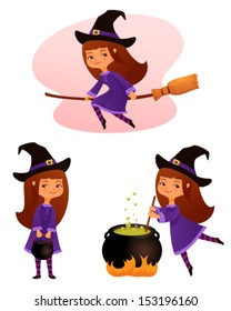 cute cartoon illustrations of a small witch girl suitable for Halloween holiday
