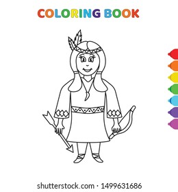 cute cartoon indian female coloring book for kids. black and white vector illustration for coloring book. indian female concept hand drawn illustration