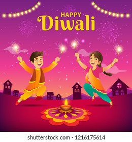 Cute cartoon indian kids in traditional clothes jumping and playing with firecracker celebrating  the festival of lights Diwali or Deepavali on sky background