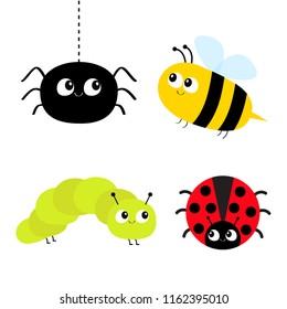 Cute cartoon insect set. Ladybug lady bird, honeybee bee, caterpillar, spider. Dash line. White background Isolated. Flat design. Vector illustration