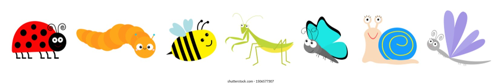 Cute cartoon insect set line. Mantis, ladybug, ladybird, bee, dragonfly, butterfly caterpillar snail. White background Isolated Vector illustration