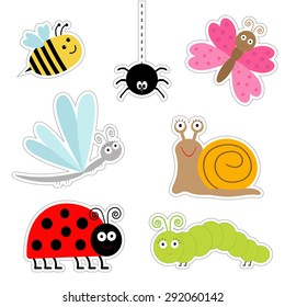 Cute cartoon insect sticker set. Ladybug, dragonfly, butterfly, caterpillar, spider, snail. Isolated. Flat design Vector illustration