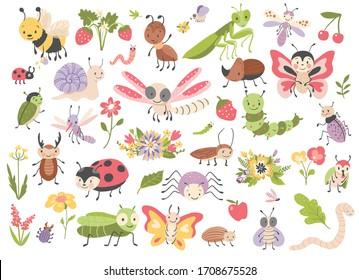 Cute cartoon insects. Butterfly, bug, dragonfly, caterpillar, spider, mosquito, fly and worm. Vector illustration.