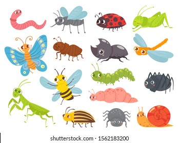 Cute cartoon insects. Funny caterpillar and butterfly, children bugs, mosquito and spider. Green grasshopper, ant and ladybug. Bug insect colorful isolated vector illustration icons set