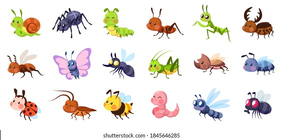 Cute cartoon insects. Funny little insect characters set baby snail, smile spider and caterpillar, little ant, colorful butterfly and comic dragonfly, bumblebee and mosquito vector isolated collection