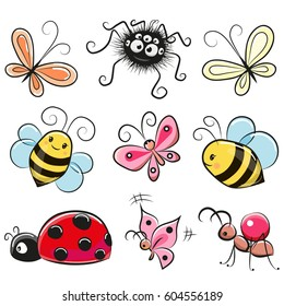 Cute Cartoon insects isolated on a white background