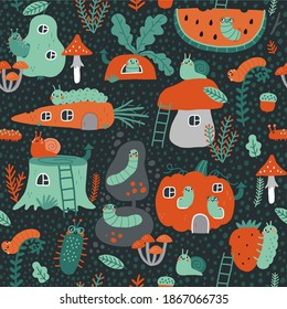 Cute cartoon insects worm snail in forest. Kawaii flat insects, leaves, fruits, bends in the garden seamless pattern