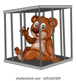 Cute Cartoon - Inside Steel Cage. Animals in the Cage. Isolated on White Background