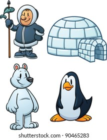 Cute cartoon Inuit, igloo, polar bear and penguin. Vector illustration with simple gradients. Each in a separate layer.