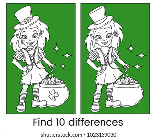 Cute cartoon irish leprechaun girl with the pot full of golden coins. Find ten differences visual puzzle and coloring page. Outline vector illustration for St. Patricks Day