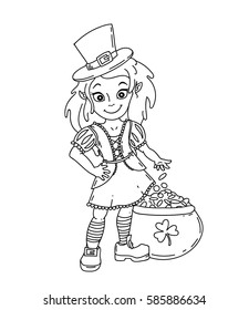 Cute cartoon irish leprechaun girl with the pot full of golden coins. Black and white isolated vector illustration for St. Patricks Day