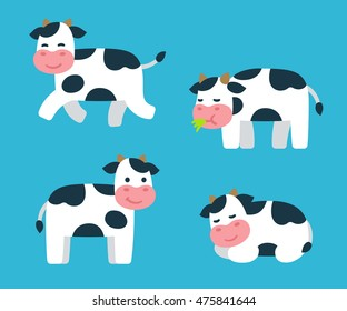 Cute cartoon isolated cow illustrations set. Standing, running, sleeping and eating grass. Adorable vector art.
