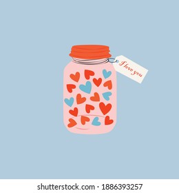 A cute cartoon jar filled with heart. Love and valentine's day concept. Hand drawn jar with a love message. Colorful trendy vector illustration for greetings, postcard, cards.