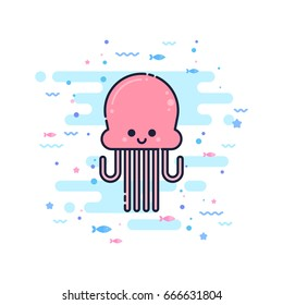 Cute cartoon jellyfish character in a trendy flat thin line style. Great for children toys and apparel, wed design, company logo