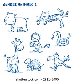 Cute cartoon jungle, safari animals. hippo, tiger, giraffe, monkey, snake, tortoise, bird, toucan. Hand drawn doodle vector illustration.