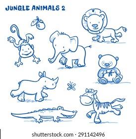 Cute cartoon jungle safari animals. elephant, monkey, lion, rhinoceros, zebra, panda bear, crocodile. Hand drawn doodle vector illustration.