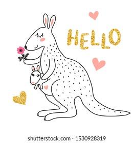 Cute cartoon kangaroo isolated on white background vector illustration