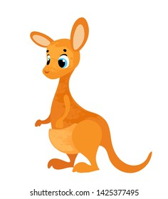 Cute cartoon kangaroo. Vector illustration in children's style, for children's books, posters, stickers or room decor