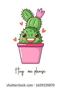 Cute cartoon kawaii cactus with smile face in pot, crown flower and quote. Vector hand drawn illustration, fashion slogan. Nursery design poster, birthday, greeting cards, invitations or like sticker