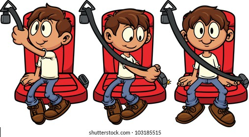 Cute cartoon kid fastening his seat-belt. Vector illustration with simple gradients. Each in a single layer for easy editing.