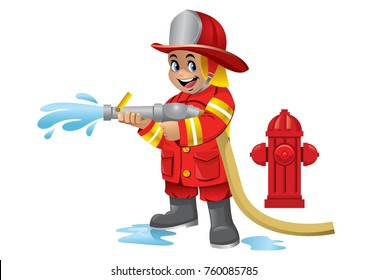 cute cartoon kid of firefighter