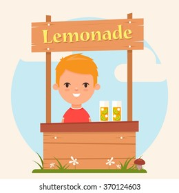 Cute Cartoon Kid Standing on a Lemonade Stand. Colorful Vector Illustration