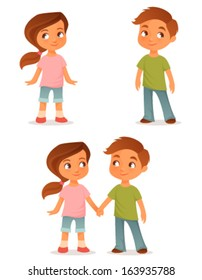 cute cartoon kids, either a brother and sister or little friends, holding hands