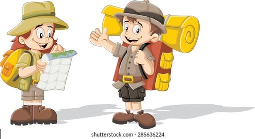 Cute cartoon kids in explorer outfit