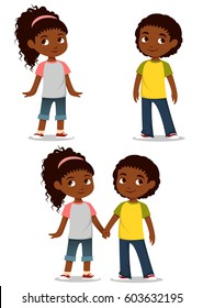 cute cartoon kids holding hands
