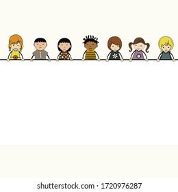 Cute cartoon kids  with large banner and place for text