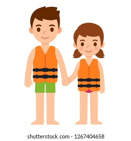 Cute cartoon kids, little boy and girl, in life vests. Water safety for children vector illustration.