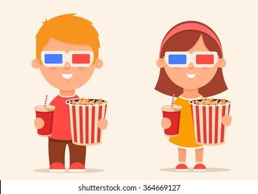 Cute Cartoon Kids with Popcorn and Soda Standing in the Cinema. Colorful Vector Illustration