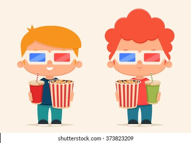 Cute Cartoon Kids with Popcorn and Soda Ready to Watch the Movie. Vector Set