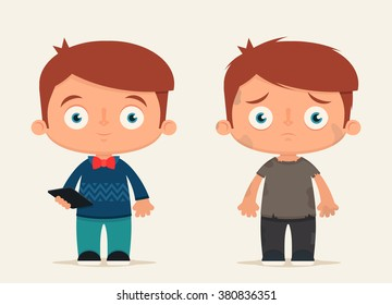 Cute Cartoon Kids (Rich and Poor). Vector Illustration