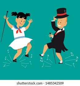 Cute cartoon kids tap dancing in vintage outfits, with canes and top hat, EPS 8 vector illustration