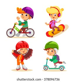 Cute cartoon kids with various summer activities. Boy on bicycle,girl skating, boy on scooter. Vector illustrations isolated on white background