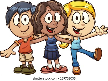 Cute cartoon kids. Vector clip art illustration with simple gradients. All in a single layer.