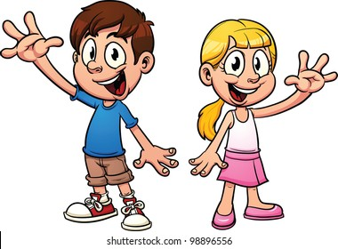 Cute cartoon kids waving hello. Vector illustration with simple gradients. Each in a separate layer.