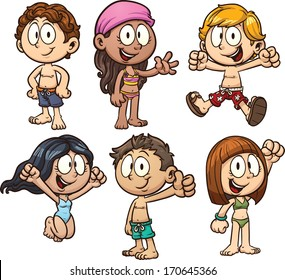 Cute cartoon kids wearing swimsuit. Vector clip art illustration with simple gradients. Each on a separate layer.