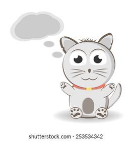 cute cartoon kitten dreaming.Vector illustration