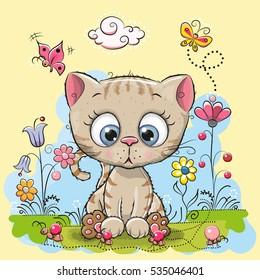 Cute Cartoon Kitten with flowers and butterflies on a meadow