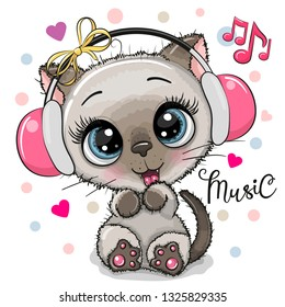 Cute cartoon Kitten girl with pink headphones on a white background