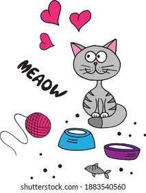 Cute cartoon kitten, hank and hearts vector illustration.