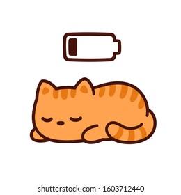 Cute cartoon kitten taking power nap with charging battery. Kawaii sleeping cat drawing, vector illustration.