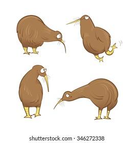 Cute cartoon kiwi birds set. Vector image. Australian animals.