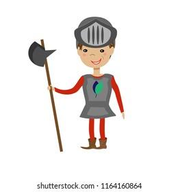 Cute cartoon knight. vector illustration