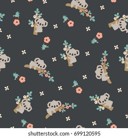 Cute cartoon koala floral seamless pattern/wallpaper
