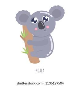 Cute cartoon koala vector illustration.