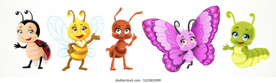 Cute cartoon ladybug bee, butterfly, caterpillar, ant isolated on a white background